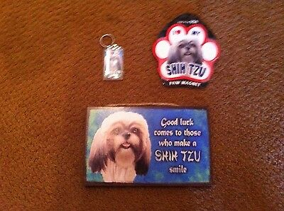 i love my shih tzu paw magnet wood sign and keychain