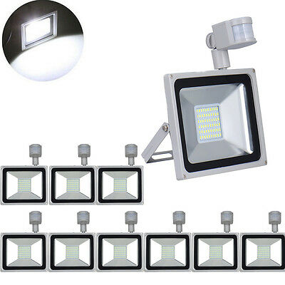 10X 50W LED Floodlight PIR Motion Sensor Outdoor Security Lamp IP65 Cool White