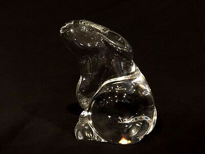 Beautiful Vintage Baccarat French Crystal Bunny Rabbit Paperweight Figurine