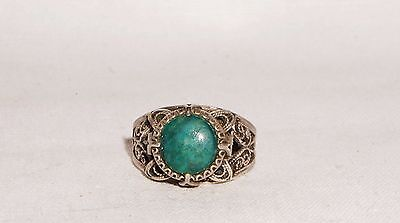 Antique Russian Filigree Silver Tone 100% Natural Green Chrysoprase  Ring 10 T