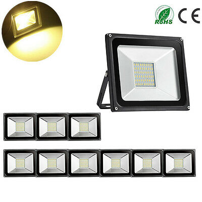 10X 30W LED Floodlight Warm White Outdoor Lamp IP65 Waterproof Flood Light
