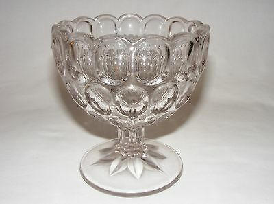 ANTIQUE VICTORIAN  EARLY AMERICAN PRESSED FOOTED COMPOTE BOWL Eapg C. 1890