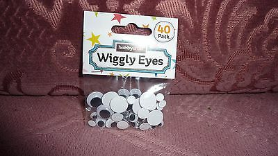 Pack of 40 Assorted Sizes of Wiggly Eyes- Hobbycraft- BNIP