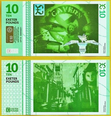 England / Exeter £10 Regional/Local Banknote from UK's Latest Cash Town. UNC