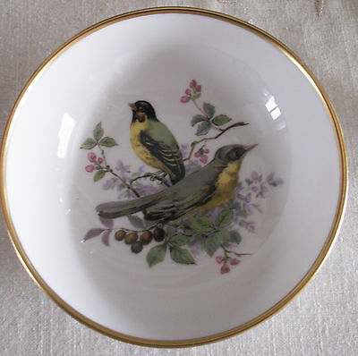 Early Kaiser 5 In.Bowl Post 1940's Yellow-Breasted Chat?+Yellow Breasted Tit?