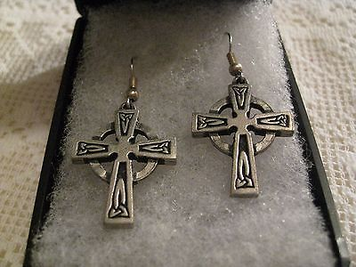 Pewter Celtic Cross Earrings made by 'St Justin' in Cornwall