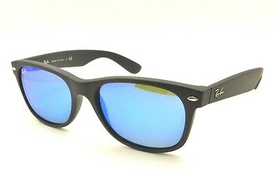 New Ray Ban New Wayfarer 2132 622/17 52 Matte Black Rubber Blue Mirror Authentic