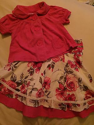 Next Girls Pretty Outfit Rose Skirt & Pink Cardigan Wedding Occasion Party Age 3