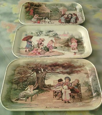 Vintage Tin Trays Massilly France small Decorative collection Children's Scenes