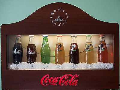 *coca Cola* Illuminated Wooden Bottle Display With Clock #italy Limited Edition#