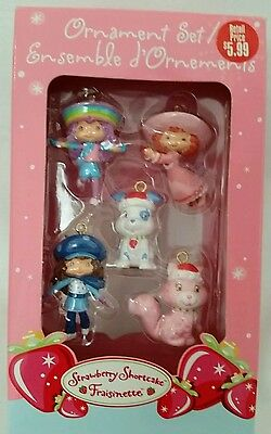 American Greetings Strawberry Shortcake Christmas Ornaments, Set of 5, 2005,New