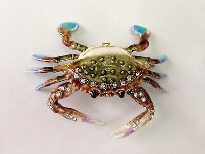 Bejeweled Crab Trinket Jewelry Box  Statue Figurine