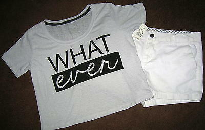 Womens White Merona Shorts Size 8 & NWT Fifth Sun What Ever Top M