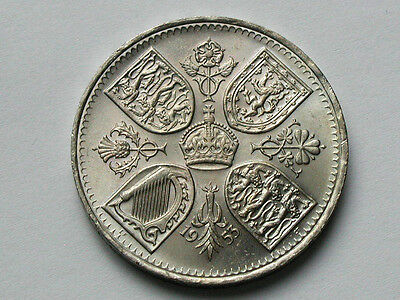 UK (Great Britain) 1953 CROWN/5 SHILLINGS Coin with Horse & Elizabeth II Riding