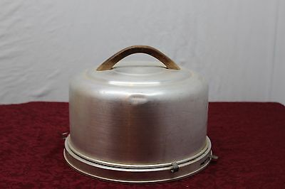 Vintage Mirro Aluminum Cake Plate with Wood Handle and Lock in Place Bottom