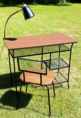 Vtg Mid Century Modern Atomic Desk Chair Gooseneck Lamp Metal Industrial Eames