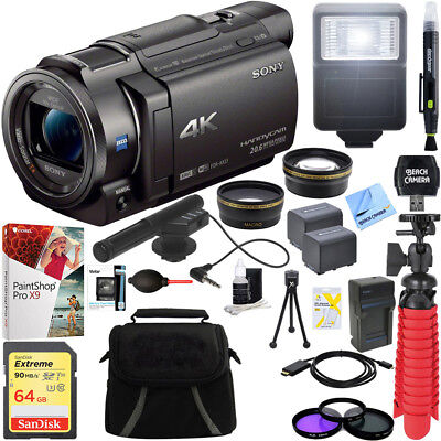 Sony FDR-AX33/B - 4K Camcorder with Mini Zoom Microphone + 64GB Accessory Bundle