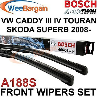 SKODA SUPERB 2008- VW CADDY III IV BOSCH A188S Aerotwin Front Wiper Blades Set