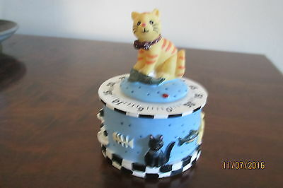 """Cat. Kitchen.  1 Hour Timer. 4"""" High White & Blue Multi Cats around the base."""