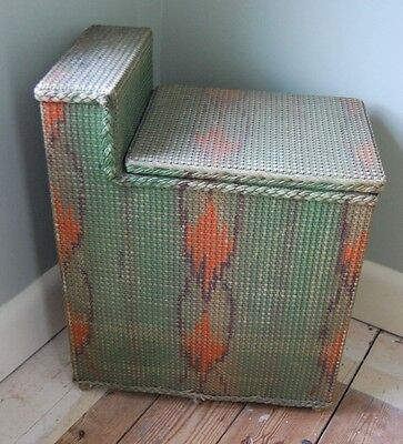 Vintage Art Deco Wicker Laundry Basket C1930's Lloyd Loom Style