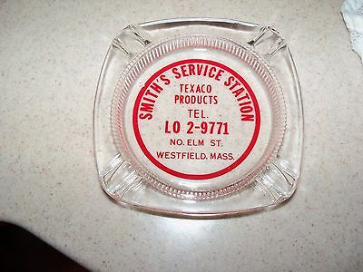 Vintage 1950 60s Texaco Products Glass Ashtray Westfield Mass Smith's Service