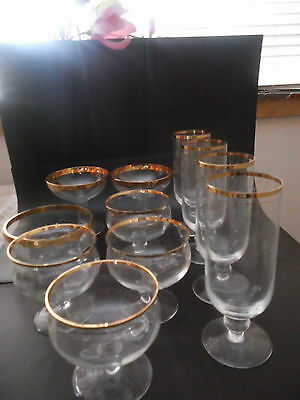 11 Glass Mixed Peices Gilted Gold Flutes Bowls Cocktail Bowls Elegant