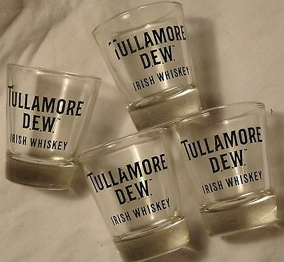 Set of 4 Tullamore Dew Irish Whiskey Shot Glasses - Clear Glass - New