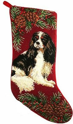 Tri Color Cavalier King Charles Spaniel Dog Christmas Needlepoint Stocking - 11""