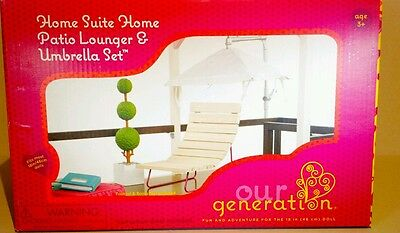 "Our generation patio lounger & umbrella set ( 18"" doll)"