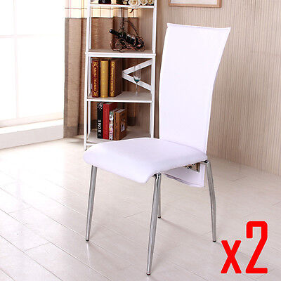 BN 2X White High Back Faux Leather Dining Chairs Chrome Legs Dining Room Chairs