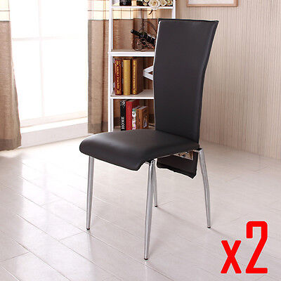 BN 2X Grey High Back Faux Leather Dining Chairs Chrome Legs Dining Room Chairs