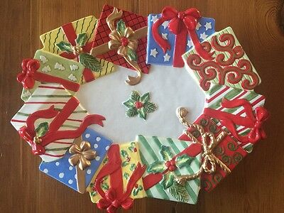 "Fitz & Floyd HAPPY HOLIDAYS Christmas Platter 17"" Colorful Gift Packages Holly"