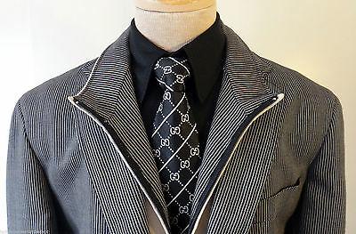 PAL ZILERI concept 44R regular RED & LOWSON 56R stripe collar black white sport