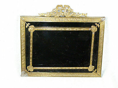 Victorian Black Matted Brass Mourning Frame - Rose Corners, Ribbon Top Ornament