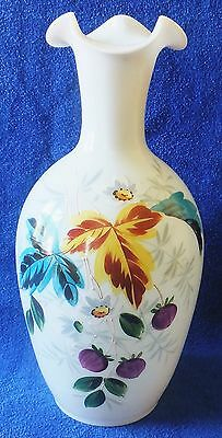 """11"""" Hand Painted Bristol Glass White Vase With Berries & Flowers & Pontil Mark"""