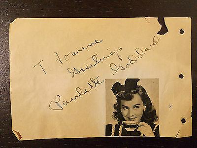 Paulette Goddard Signed Page From Autograph Book Andrea Leeds Signed On Back