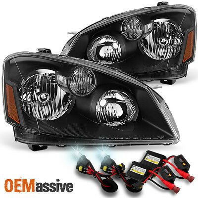 Fits 05-06 Altima Black Headlights Headlamps Replacement Pair + 6000K HID Kit