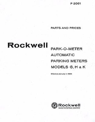 Parking Meter SERVICE MANUAL Rockwell, Park-O-Meter, POM Models G, H & K. NEW