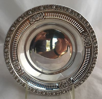 """Vintage Sterling Silver Manchester Royal Rose Reticulated 7"""" Bowl"""