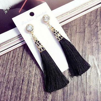 1pc Rhinestone Long Tassel Dangle Earrings Women Ladies Girls Thread Fringe Drop