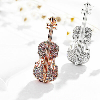 Trendy Accessories Gold Plated Crystal Violin Brooches Women Rhinestone Brooch