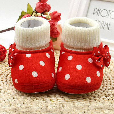 2016 Baby Boots Shoes Soled Girl Princess Bowknot Shoes Infant Wool First Walker
