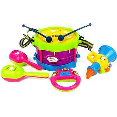 5pcs Baby Musical Instruments Rattles Bells Kids Early Learning Drum Fun Toys