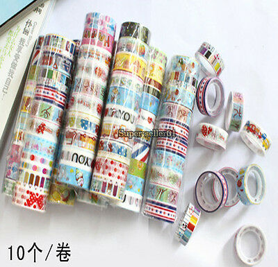 10/30/50Pcs Cute Cartoon Deco Scrapbooking Mixed Washi Adhesive Tape Color Tape