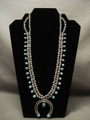 Early 1900's Vintage Navajo Squash Blossom Silver Necklace