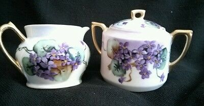 Antique Hand Painted Porcelain PURPLE VIOLETS Covered Creamer and Sugar