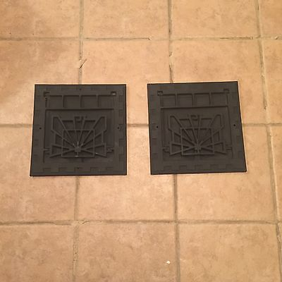 2 Vintage Old Style Square Air Vents Grates Antique Unique