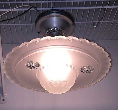 """11"""" Long Vintage Three Chain glass fixture"""