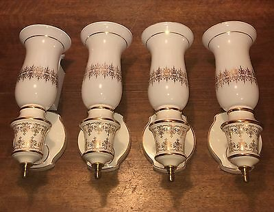 """4 Four 13.5"""" Porcelain White & Gold Hollywood 1970's Matching Sconces Wired Set"""