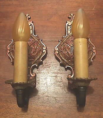 Matched Pair Antique Wired Wall Sconce Fixtures Light Lighting Vintage